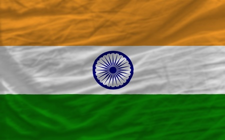 complete national flag of  india covers whole frame, waved, crunched and very natural looking. It is perfect for background photo