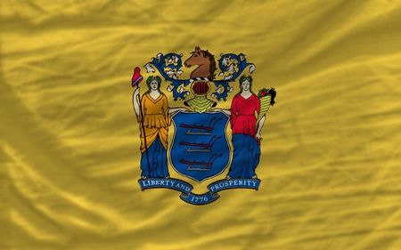 jersey: complete flag of us state of new jersey covers whole frame, waved, crunched and very natural looking. It is perfect for background
