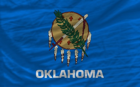 complete: complete flag of us state of oklahoma covers whole frame, waved, crunched and very natural looking. It is perfect for background