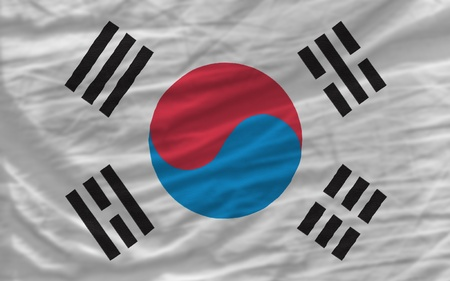 complete national flag of south korea covers whole frame, waved, crunched and very natural looking. It is perfect for background photo