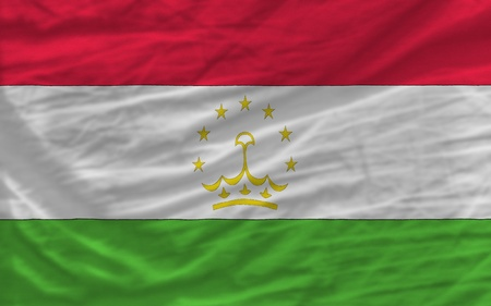 piktogramm: complete national flag of tajikistan covers whole frame, waved, crunched and very natural looking. It is perfect for background