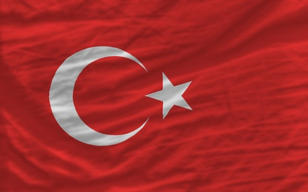 piktogramm: complete national flag of turkey covers whole frame, waved, crunched and very natural looking. It is perfect for background Stock Photo