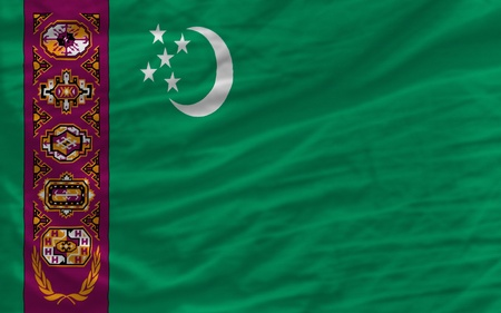 piktogramm: complete national flag of turkmenistan covers whole frame, waved, crunched and very natural looking. It is perfect for background Stock Photo