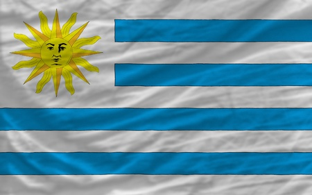 piktogramm: complete national flag of uruguay covers whole frame, waved, crunched and very natural looking. It is perfect for background