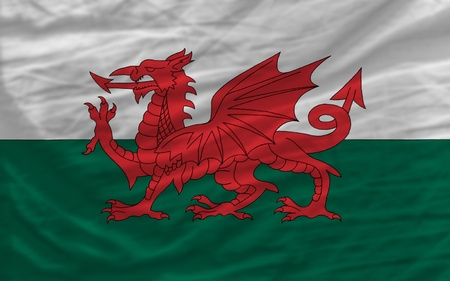 piktogramm: complete national flag of wales covers whole frame, waved, crunched and very natural looking. It is perfect for background Stock Photo