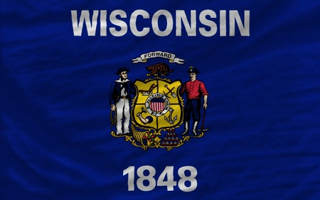 wisconsin flag: complete flag of us state of wisconsin covers whole frame, waved, crunched and very natural looking. It is perfect for background