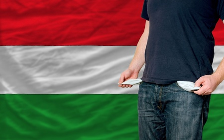 poor man showing empty pockets in front of hungary flag Stock Photo