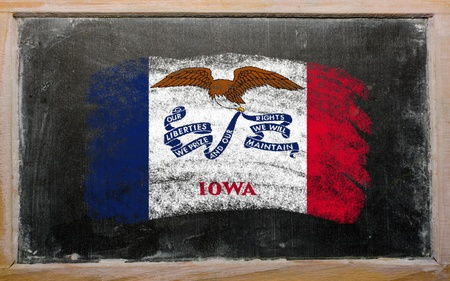 Chalky american state of iowa flag painted with color chalk on old blackboard photo