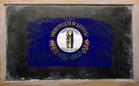 Chalky american state of kentucky flag painted with color chalk on old blackboard Stock Photo - 12172449