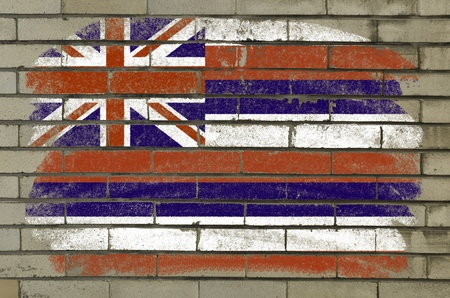Chalky and grunge american state of hawaii flag painted with color chalk on brick wall photo