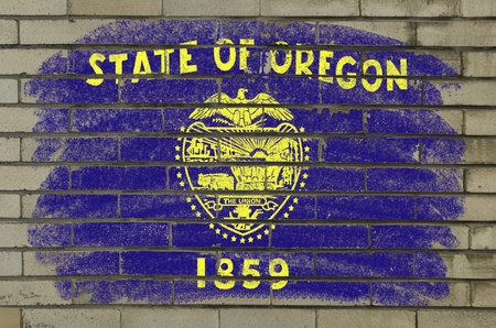 Chalky and grunge american state of oregon flag painted with color chalk on brick wall photo