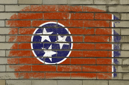 Chalky and grunge american state of tennessee flag painted with color chalk on brick wall photo