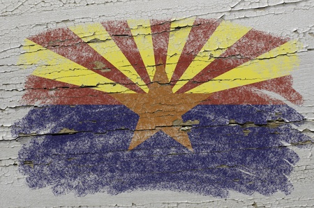 precisely: Chalky american state of arizona flag precisely painted with color chalk on grunge wooden texture