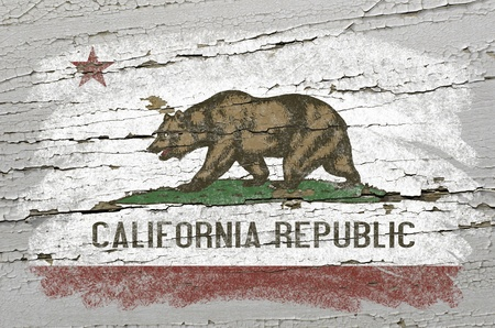 geography: Chalky american state of california flag precisely painted with color chalk on grunge wooden texture Stock Photo