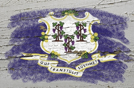 precisely: Chalky american state of connecticut flag precisely painted with color chalk on grunge wooden texture
