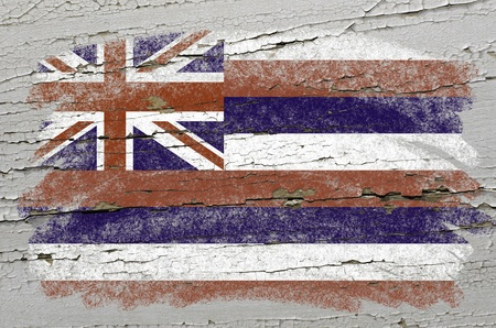 hawaii flag: Chalky american state of hawaii flag precisely painted with color chalk on grunge wooden texture