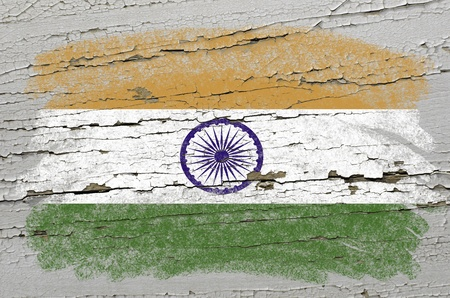 precisely: Chalky india flag precisely painted with color chalk on grunge wooden texture