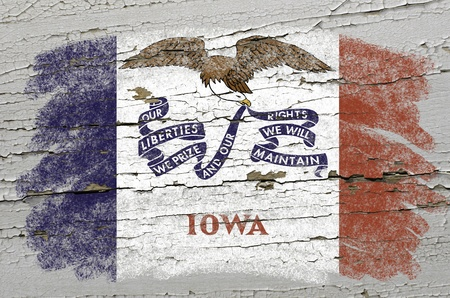 precisely: Chalky american state of iowa flag precisely painted with color chalk on grunge wooden texture