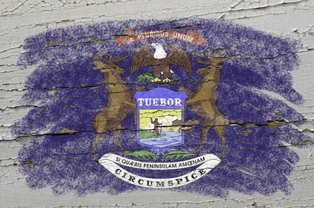 precisely: Chalky american state of michigan flag precisely painted with color chalk on grunge wooden texture