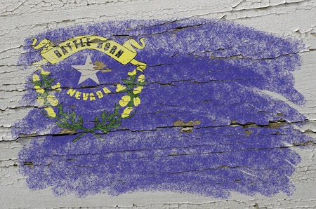 Chalky american state of nevada flag precisely painted with color chalk on grunge wooden texture photo