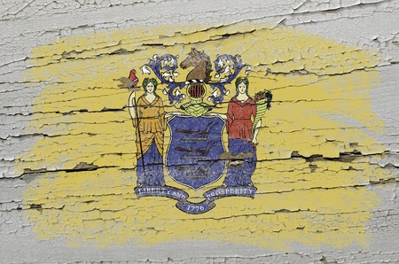 jersey: Chalky american state of new jersey flag precisely painted with color chalk on grunge wooden texture