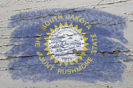 precisely: Chalky american state of south dakota flag precisely painted with color chalk on grunge wooden texture
