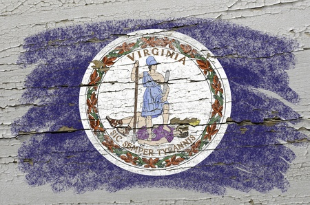 precisely: Chalky american state of virginia flag precisely painted with color chalk on grunge wooden texture Stock Photo