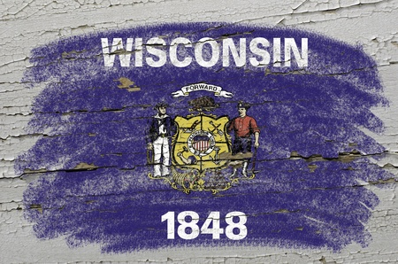 precisely: Chalky american state of wisconsin flag precisely painted with color chalk on grunge wooden texture