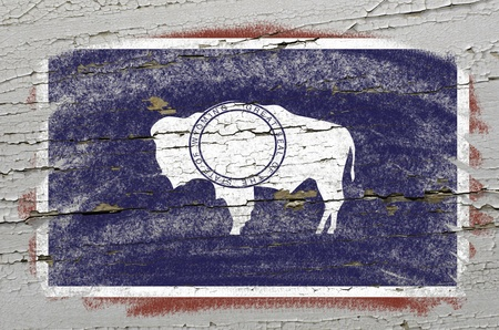 precisely: Chalky american state of wyoming flag precisely painted with color chalk on grunge wooden texture Stock Photo