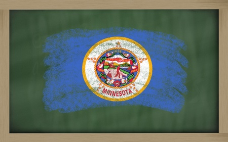 geography: Chalky american state of minnesota flag painted with color chalk on old blackboard