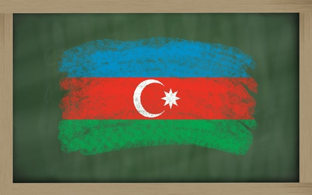 azerbaijanian: Chalky national flag of azerbaijan painted with color chalk on blackboard illustration