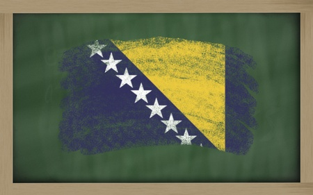 bosnia and  herzegovina: Chalky national flag of bosnia herzegovina  painted with color chalk on blackboard illustration