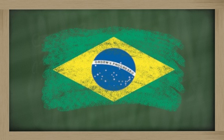 brazilian: Chalky national flag of brazil painted with color chalk on blackboard illustration