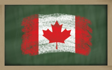 Chalky national flag of canada painted with color chalk on blackboard illustration illustration