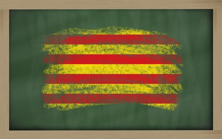 catalonian: Chalky catalonia flag painted with color chalk on old blackboard
