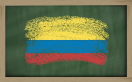 Chalky national flag of colombia painted with color chalk on blackboard illustration illustration