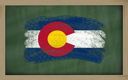 colorado flag: Chalky american state of colorado flag painted with color chalk on old blackboard