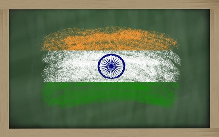 chalky: Chalky india flag painted with color chalk on old blackboard Stock Photo