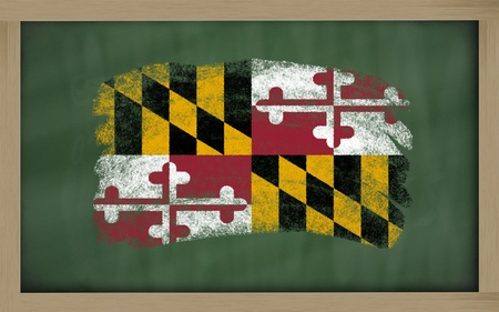 maryland flag: Chalky american state of maryland flag painted with color chalk on old blackboard