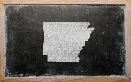 drawing of american state of arkansas on chalkboard, drawn by chalk photo