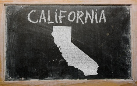 drawing of american state of california on chalkboard, drawn by chalk Stock Photo