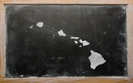 geography: drawing of american state of hawaii on chalkboard, drawn by chalk Stock Photo