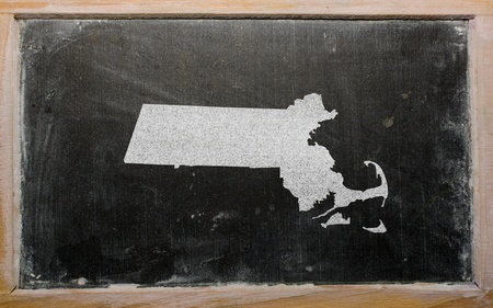 geography: drawing of american state of massachusetts on chalkboard, drawn by chalk