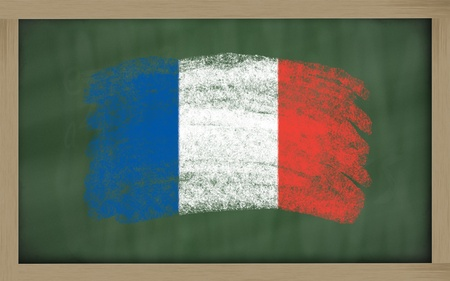 france painted: Chalky national flag of france painted with color chalk on blackboard illustration