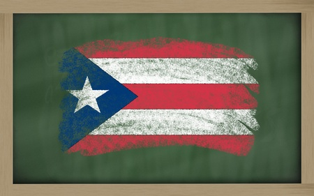 puertorico: Chalky national flag of puertorico painted with color chalk on blackboard illustration Stock Photo