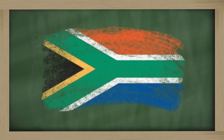 Chalky national flag of south africa painted with color chalk on blackboard illustration illustration