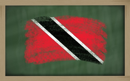 trinidadian: Chalky national flag of trinidad tobago painted with color chalk on blackboard illustration Stock Photo