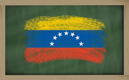 Chalky national flag of venezuela painted with color chalk on blackboard illustration illustration