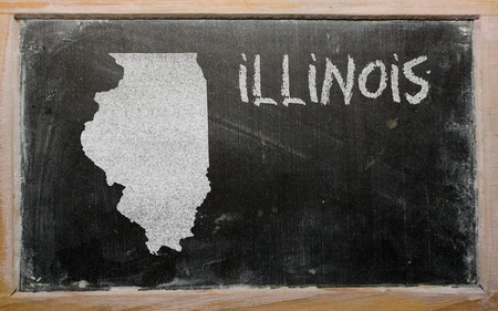 geography: drawing of american state of illinois on chalkboard, drawn by chalk Stock Photo