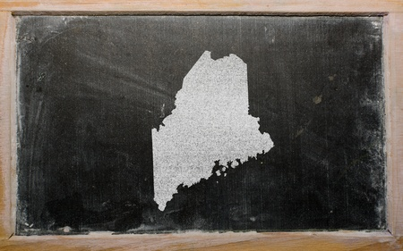 geography: drawing of american state of maine on chalkboard, drawn by chalk